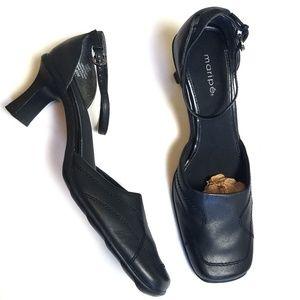 Maripé Black Leather Sugar Heels Size 8.5M